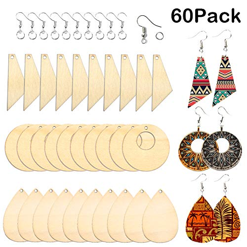 FALUCKYY 60 Pcs Wooden Dangle Earring Making Kit, DIY Earrings Jewelry Making Starter Kit Unfinished Wooden Teardrop Earring Pendants with Earring Hooks and Jump Rings for DIY Craft Jewelry Making