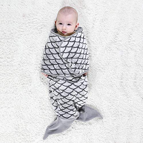 ZHANGYY Cartoon Shaped Baby Holding Blanket Flannel Baby Swaddled Shark Wrap Blanket Mermaid Sleeping Bag, Gray Mermaid, 33X70cm