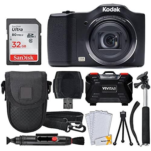 Kodak PIXPRO FZ152 Digital Camera + 32GB Memory Card + Point and Shoot Camera Case + Extendable Monopod + Lens Cleaning…