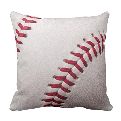 lucies Throw Pillow Cover Balls Baseballs Customize Sports Customized Personalized Personalize Monogram Decorative Pillow Case Home Decor Square 18 x 18 Inch Pillowcase