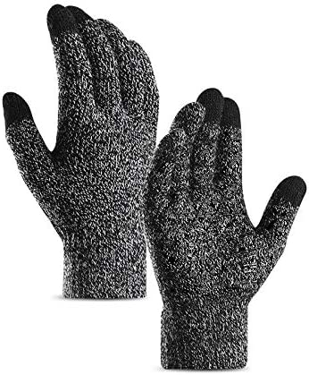 Lupovin-Keep Warm Pair Men Women Winter Touch Screen Warm Gloves Windproof Raincoat Drive Riding Thermal Full Finger Non-Slip (Color : Black White, Size : Women)