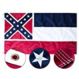 MFEI Mississippi Flag 3x5, Oxford Cloth Outdoor Indoor Flags, Magnolia Flag, Embroidered Stars, Sewn Stripes, Brass Grommets, Fading Resistance