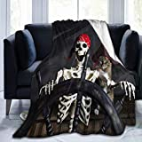 VANKINE Ultra Soft Fleece Throw Blanket Captain Cat Pirate Ship Skull Skeleton Controlling The Helm Twin(60'x80') Warm Fuzzy Blankets for The Bed Sofa Lightweight