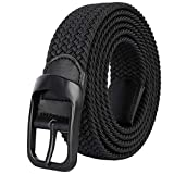 Mens Big Size 59inch Casual Elastic Black Braided Stretchy Fabric Web Belts for Jeans