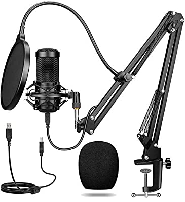 USB Microphone, Professional Podcast Microphone 192KHZ / 24Bit Studio Cardioid Condenser Microphone Kit With Sound Card Boom Arm Shock Mount Pop Filter for Skype, Radio, Youtube, Podcasts