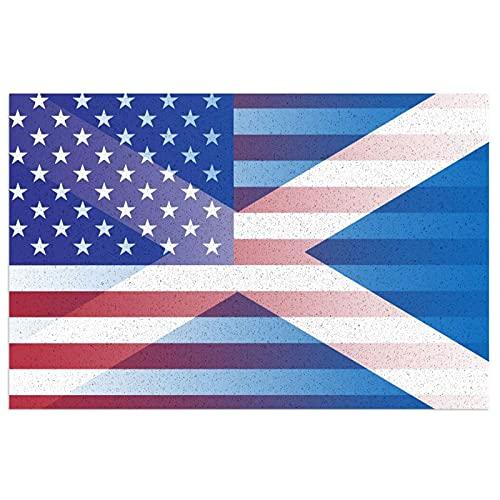 Felpudo con bandera de Escocia de Estados Unidos con respaldo de PVC resistente para uso en interiores y exteriores