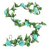 HotYou Guirnalda de Flores Artificiales de Seda, diseño clásico, para Colgar en Paredes o como decoración de Boda,Lago Azul,1 Pieza