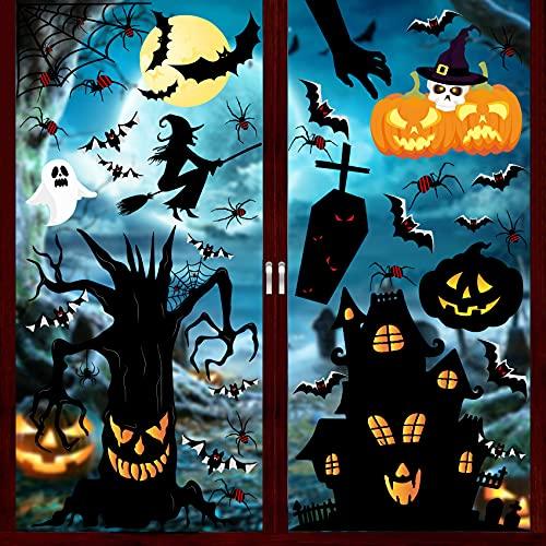 Pegatinas Ventana Halloween Decoracion, 127 adornos de ventana de Halloween, Estáticas Pegatinas Halloween para Ventana Decoracion Telaraña, Murcielago para decoraciones de fiesta de Halloween (L)