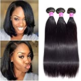 Peiyulex Brazilian Straight Hair 3 Bundles 10inch 100% Human Hair Bundles Brazilian Virgin Hair Weft Bob hair Bundles 300g Natural Black