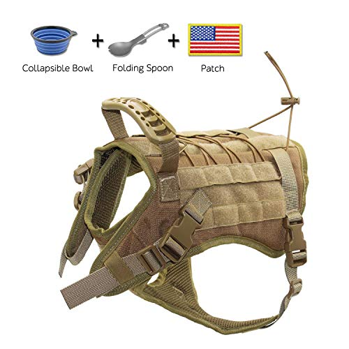 EJG Tactical Dog Harness Vest, with Molle System & Velcro Area, No Pulling Design, Comfy Mesh Padding, for Service Dogs, Military Training Hunting Hiking, for Medium Large Dogs (Large, Tan)