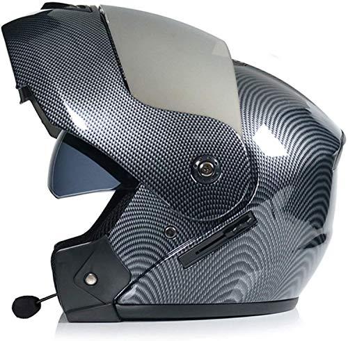 Casco Bluetooth De Moto Con Doble Visera, Bluetooth Abatible Casco De Moto ECE Homologado Casco Plegable Modular Para Motocicleta Scooterhelmet 1,S