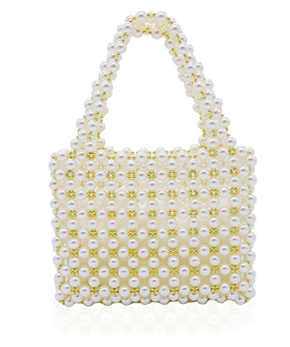 Miuco Women's Vintage Style Pearl Tote Bags Evening Clutch Wedding Purse White