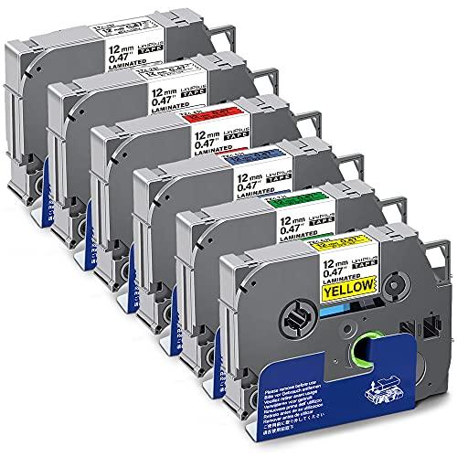 UniPlus 6x Nastro per Etichette Compatibile per Brother Tze-231 Tze-131 Tze-431 Tze-531 Tze-631 Tze-731 12mm Laminato Tape Cassetta per Brother H105 H100LB 1000 1010 H100R E10, 12mm x 8m