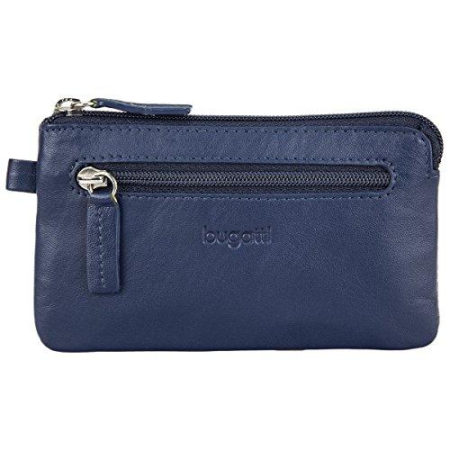 Bugatti Sempre Leder Groß – Schlüsseltasche für Damen und Herren – Schlüsselmäppchen mit Geldfach – Key Pouch Schlüsselbörse Schlüssel Etui, Blau