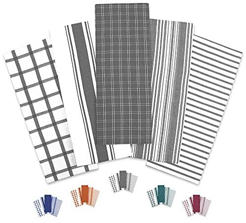 Trade Fountain Tea Towels - 46 X 71 cm Tea Towel Pack of 5 - Durable & Super Absorbent Dish Cloths - Stylish Design Dish Cloth & Towels - 100% Cotton Kitchen Towel (Grey)