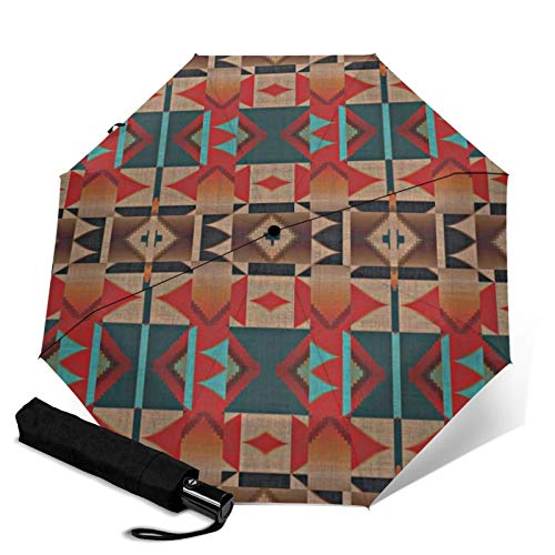 Premium Windproof Umbrella,Native American Indian Tribal Mosaic Rustic Cabin Pattern Travel Folding Automatic tri-fold Umbrella Compact Umbrella Lightweight Sun&Rain Umbrella