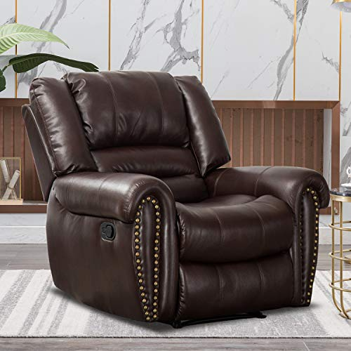 CANMOV Recliner Chair Breathable PU Leather, Classic and Traditional Manual Recliner Chair with Arms and Back Single Sofa for...