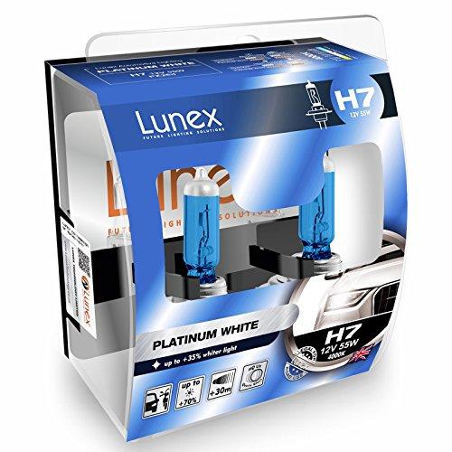 LUNEX H7 PLATINUM WHITE Ampoules Halogenes Phare Blanche 477 12V 55W PX26d 4000K duobox (2 pièces)