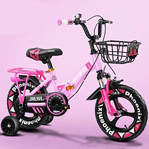 WLD kinderfiets, kinderwagen, kinderwagen, multifunctionele zitting met praktische fiets met 4 kleuropties, de beste keuze voor jongens en meisjes 12 pollici Roze.