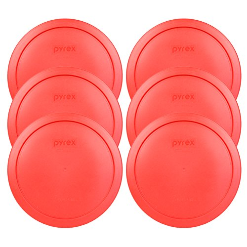 Pyrex 7402-PC Red Round Storage Replacement Lid Cover fits 6 & 7 Cup 7' Dia. Round (6-Pack)