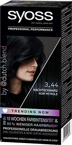 SYOSS Trending Now Coloration Stufe 3 3_44 Nachtschwarz, von Coloristen & Nemi Dupuis ausgesucht, 3er Pack (3 x 115 ml)