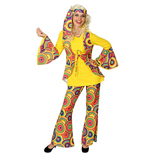 NET TOYS Hippie Kostüm Hippiekostüm Damen XL 46/48 70er Jahre Anzug Flower Power Damenkostüm 60er Jahre Damenanzug Peace Faschingskostüm Woodstock Karneval Kostüme bunt
