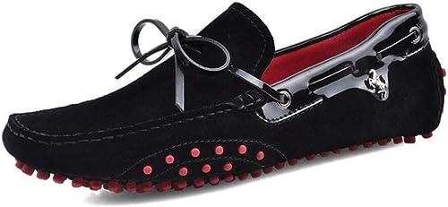 Herren Slip on Casual Loafer Driving Schuhe, Frühling Herbst Lederschuhe, Faule Schuhe, Comfort Wanderschuhe, Trendy Peas Schuhe (Farbe   On, Größe   43)