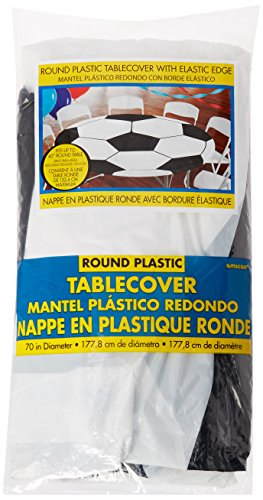 Amscan Soccer Round Printed Plastic Table Cover for Party w/Elastic, 1 piece
