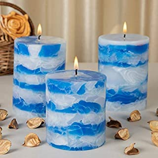 Auradecor Set of 3 Sea Breeze Fragrance Sky Blue Pillar Candles Decoration Wedding Party Candles | Perfect Use for Home Dé...
