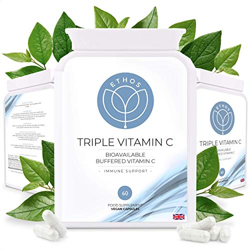 Triple Vitamin C | Bioavailable Multi VIT-C | Buffered with Magnesium & Zinc Ascorbate | Immune Support | 60 Vegan Capsules