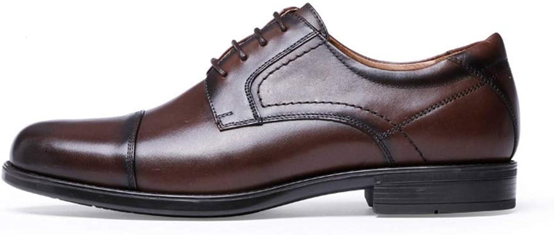 Men's Tide shoes shoes Men's Dress Business Brock Men's shoes Leather Men's shoes with shoes (color   Dark Brown, Size   42)