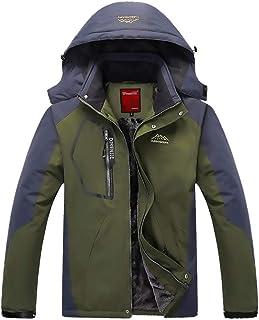 Men's Mountain Jacket Waterproof Ski Jacket Windproof Coat Warm Winter Snow Rain for Hiking Camping Outwear (Men-_Army Gre...