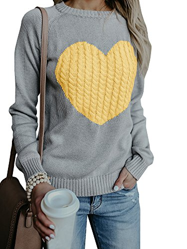 Valphsio Women's Cute Cable Knitted Pullover Sweaters Crewneck Heart Patchwork Jumpers Tops Yellow