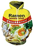 Trendy Printing Ramen Hoodie Chicken Flavor Noodle Soup Graphic Hooded Sweatshirts Bright Yellow Color Winter Pullover Outwear Drawstring Tops for Adlut Male Female Guys Boys Dude Bro Boyfriend