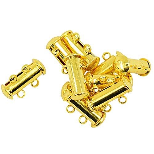 Fliyeong 10 Stück vergoldet Messing Multi Strang Folie Magnetrohr Verschluss / Anschlüsse für Modeschmuck Halskette Armband