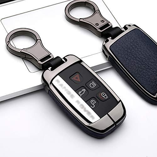 ontto Coque de clé de Voiture en Alliage de Zinc pour Land Rover Range Rover Sport Evoque 4 Discovery Sport 2 Jaguar avec Porte-clés Noir Bleu