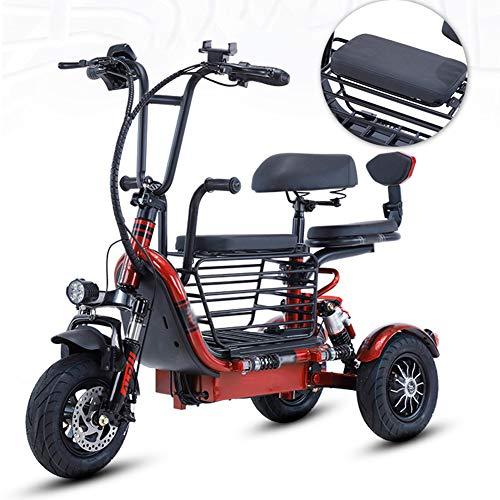 WM Elektrofahrrad für Erwachsene/tragbares faltbares elektrisches Dreirad mit Lithiumbatterie und Kindersitz Aufbewahrungskorb mit großer Kapazität 240 W Bürstenloses leises elektrisches Fahrrad,Rot