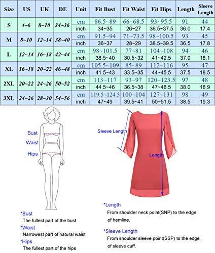 Vestido de Gasa para Mujer Vestido de de Manga Corta 3/4 Mangas Vestido de Gasa Ancho para Mujer Elegante 2XL CL010888-6