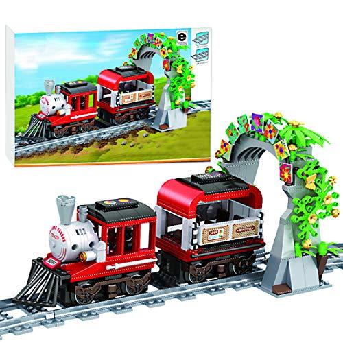 Ditzz Zug Eisenbahn Bausteine, Retro Dampfzug Modell Bauset, Konstruktionsspielzeug für Kinder und Erwachsene,...