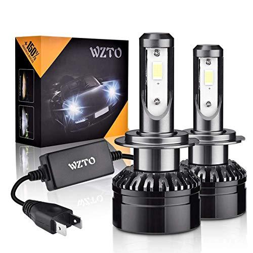 WZTO Ampoules H7 LED, 2pcs H7 12V-24V 60W Phare de Voiture 10000LM Ampoule Led Auto Camion de Rechange pour Lampes Halogènes et Kit Xenon 6000K Blanc IP65 Etanche