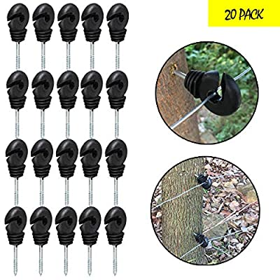 20 Pcs Electric Fence Insulator, Screw-in Insulator Fence Ring for Wood Post, Fence Posts (Black)
