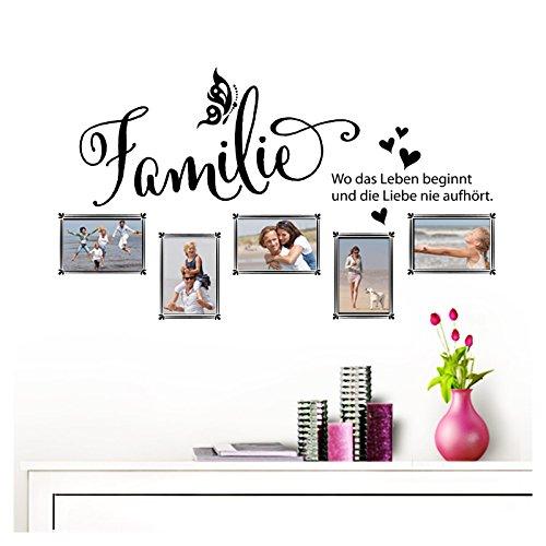 Grandora Wandtattoo Familie - Fotorahmen selbstklebend I schwarz (BxH) 84 x 49 cm I Aufkleber Sprüche für Wohnzimmer Modern Wandaufkleber W5000