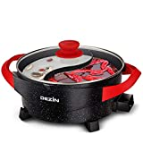 Dezin Electric Shabu Shabu Hot Pot with Divider, 5L Double Flavor Non-Stick Hot Pot with Multi-Temperature Control, Electric Cooker with Tempered Glass Lid for Party, Family Gathering