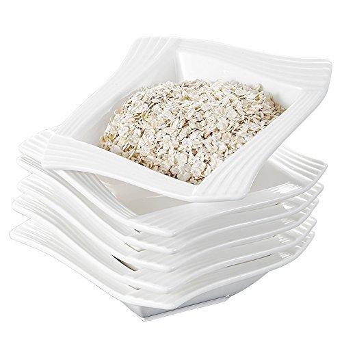 MALACASA, Serie Amparo, 6 TLG. Porzellan Müslischale Set Schüsseln Schalen Salatschüsseln 5,5 Zoll / 14 * 14 * 4cm