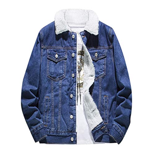 Uqiangy Men's Classic Button Front Rugged Sherpa Lined Denim Trucker Jackets Big and Tall Sizes Outerwear(Dark Blue,M)