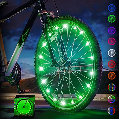 Activ Life LED Wheel Lights (1 Tire, Green) Bike Accessories for Fun Spoke & Frame Safety String Lights, Best Wheelchair & Top Baby Stroller Bicycle Accessory Gifts for Men, Women, Children & Teens