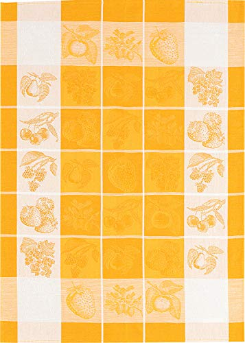 Kracht seit 1810 Half-Linen Jacquard Kitchen Towel, Set of 2, Fruit Bordered Checks, 27 x 20 Inches, Soft, Absorbent, Anti-Static and Stain-Resistant 50/50 Linen and Cotton Blend, Yellow