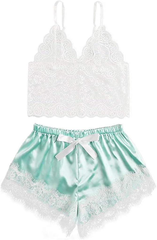 Zainafacai Women's Lace V Neck Satin Lingerie Sleepwear V Neck Cami Top and Shorts Pajama Set Nightwear