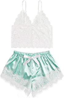 Women Lace up Sexy Lingerie Set ❀ Ladies Sling Lingerie Corset Underwire Sleepwear Underwear Tops+Briefs