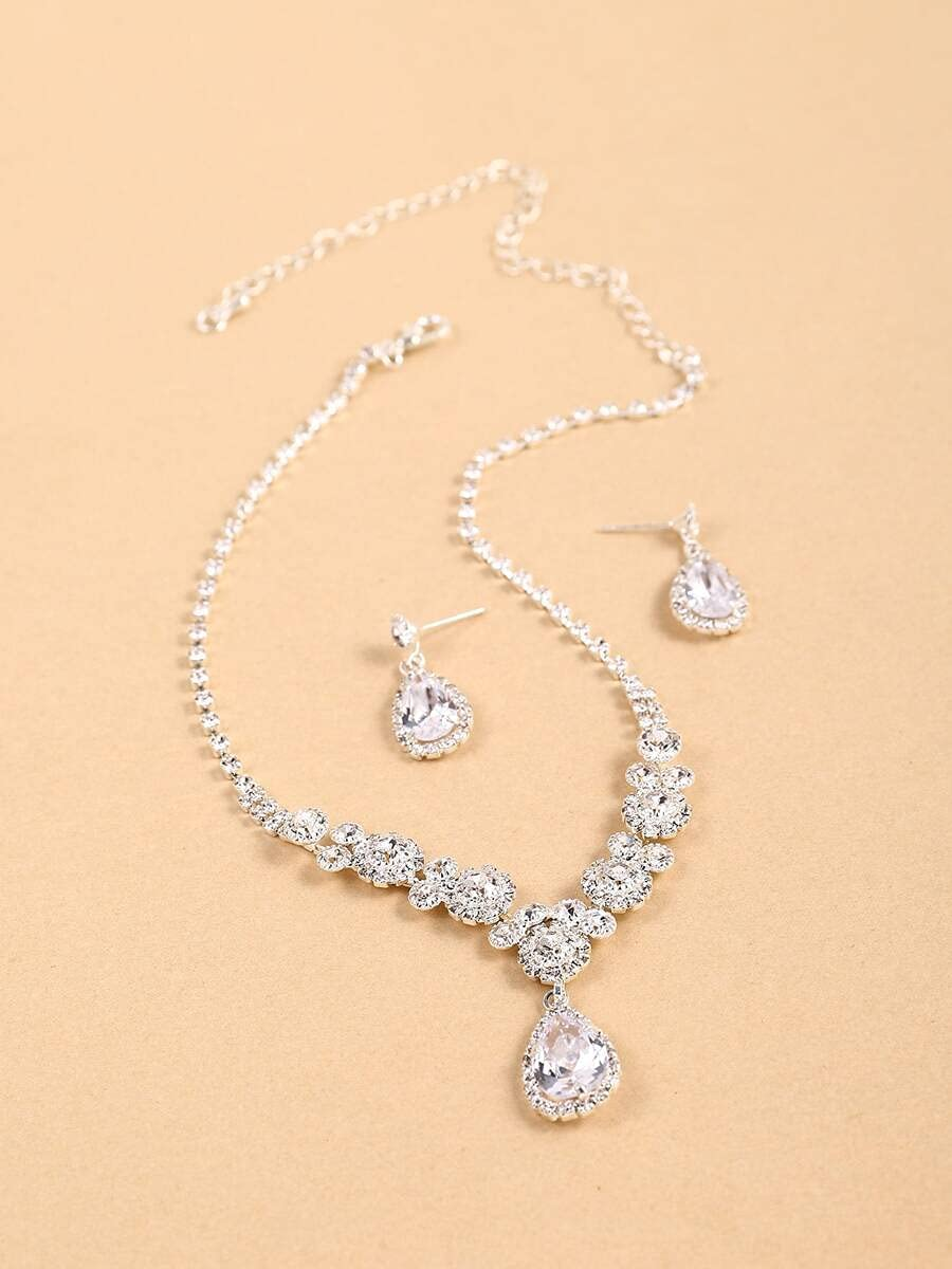 Women's Discount is also underway Jewelry Set Series Zircon Water-Drop 1p Charm Ranking integrated 1st place Necklace